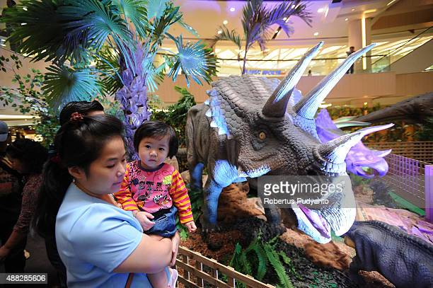 A girl looks at a Triceratops replica in the Dinosaur Adventure and Learning Experience Park at Tunjungan Plaza on September 15 2015 in Surabaya...