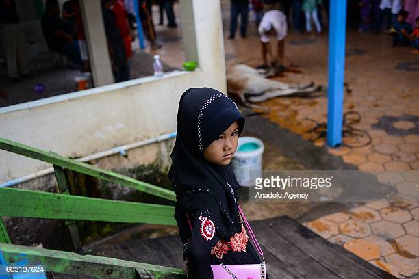 A girl looks on after a cow was sacrificed outside the prayer hall during EidAlAdha in Phnom Penh Cambodia on Monday September 12 2016