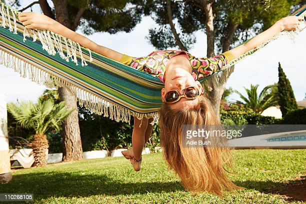 Girl lying in hammock