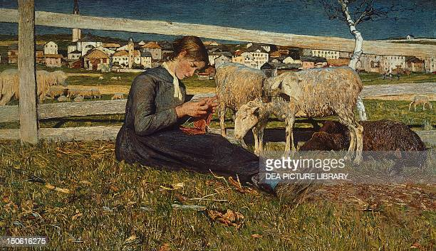 A girl making socks by Giovanni Segantini oil on canvas 54x88 cm
