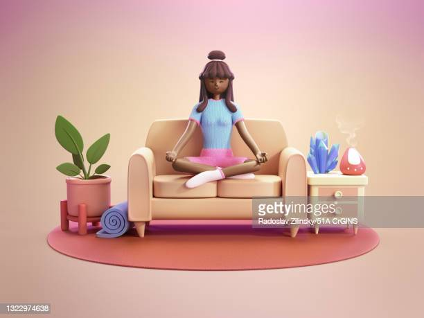 girl meditating on sofa - cartoon home 3d illustration - buddhism stock pictures, royalty-free photos & images