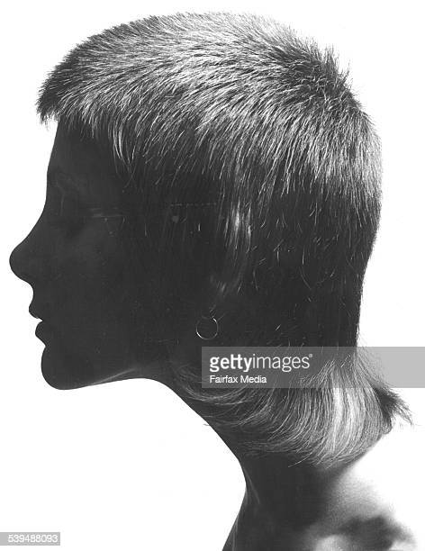A girl models the seventies 'tennis ball' hairstyle 12 February 1976