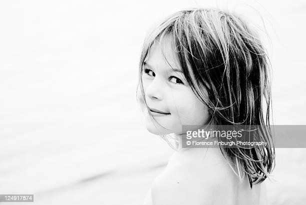Girl near lake.