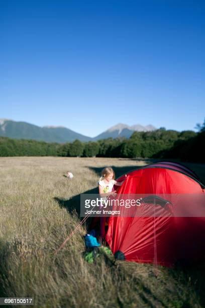 Girl near tent