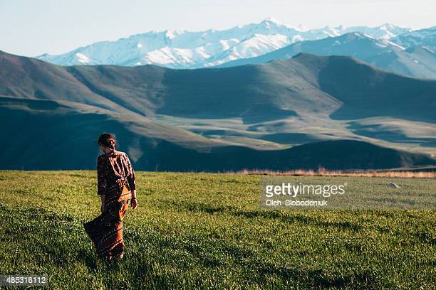 girl near the mountains - armenia stock pictures, royalty-free photos & images