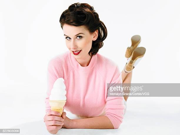 Girl next door holding ice cream cone