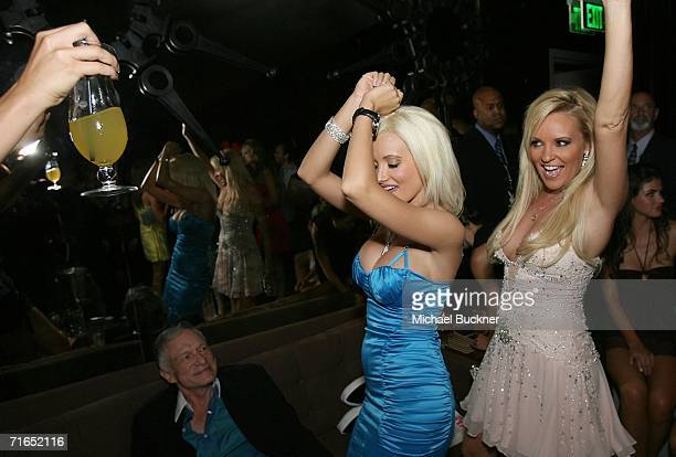 Girl Next Door models Holly Madison and Bridget Marquardt dance for Playboy publisher Hugh Hefner and Playboy and Stoli's celebration of the...