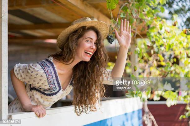 girl next door - bend over woman stock pictures, royalty-free photos & images