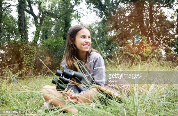 girl observing nature - girl scout stock pictures, royalty-free photos & images