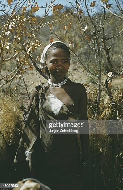 A girl of the Bushmen or San people of the Kalahari Desert Africa 1959