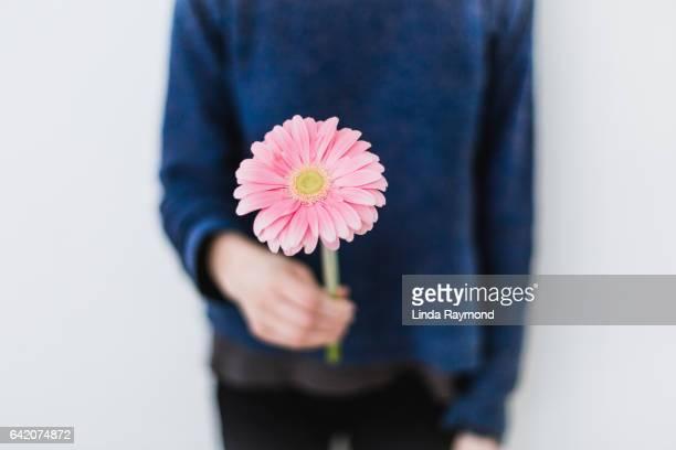 A girl offering a pink gerbera flower