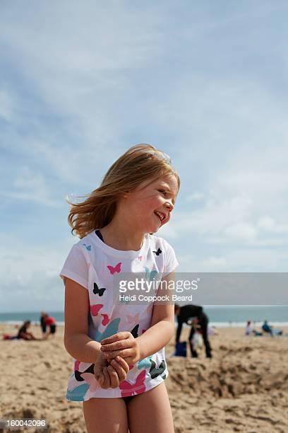 girl on a beach - heidi coppock beard stock-fotos und bilder