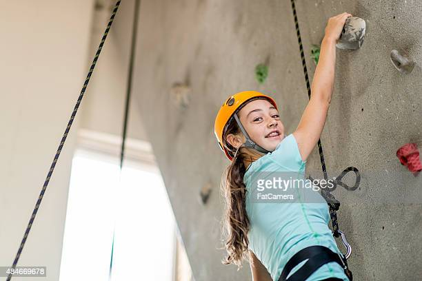 Girl on a Climbing Overhang