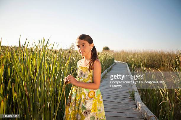 "girl on a path in a field of tall grass - ""compassionate eye"" stock-fotos und bilder"