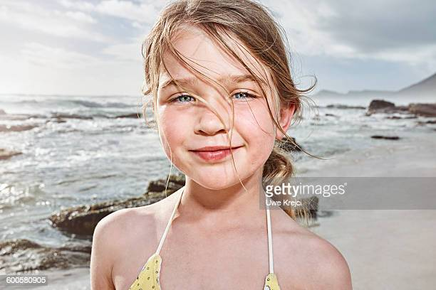 Girl on beach, portait, close up