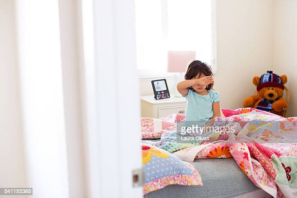 Girl On Bed Does Not Want To Get Up