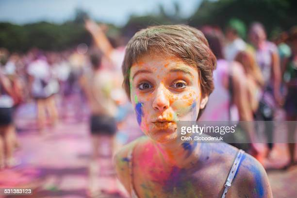 girl on holi - indian girl kissing stock photos and pictures