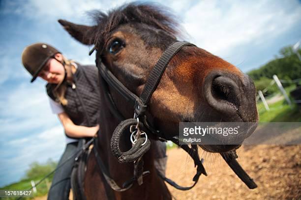 Mädchen auf Pferd ranch