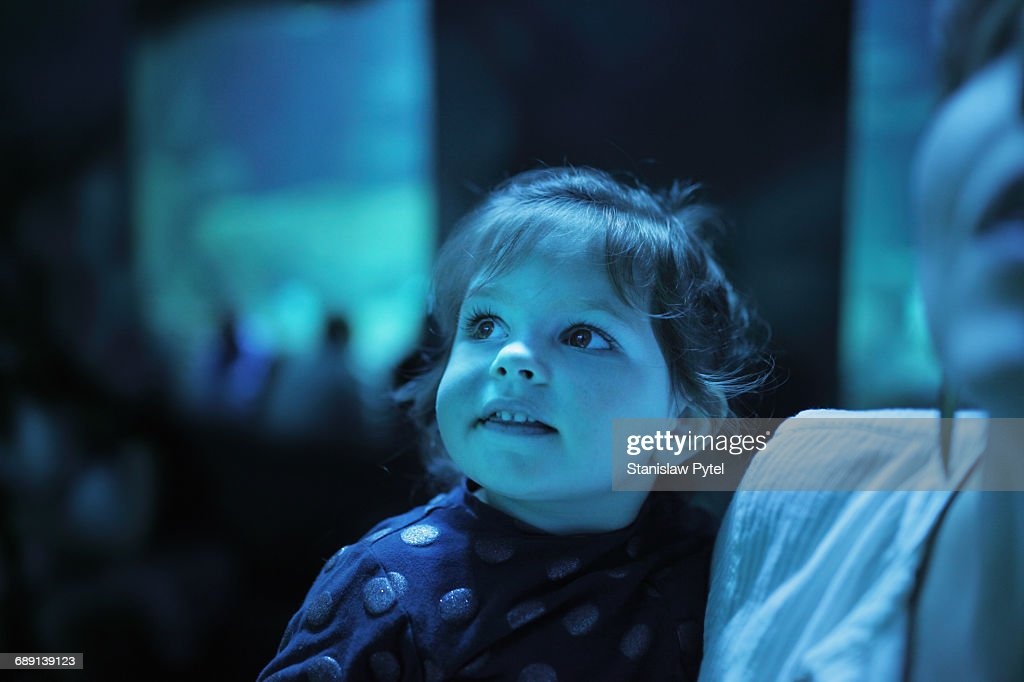 Girl on mother shoulders admiring exhibition : Stock Photo