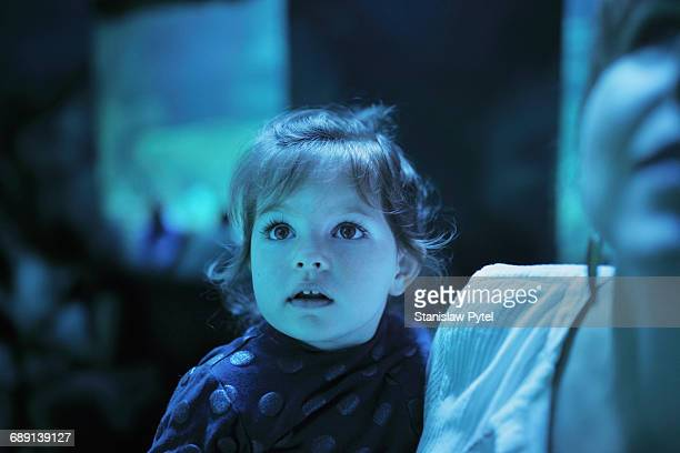 girl on mother shoulders admiring exhibition - awe stock pictures, royalty-free photos & images