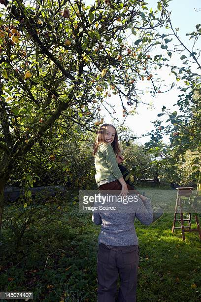 Girl on mother's shoulders in orchard