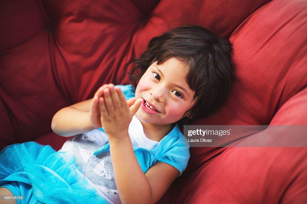Girl On Papasan Chair : Stock Photo