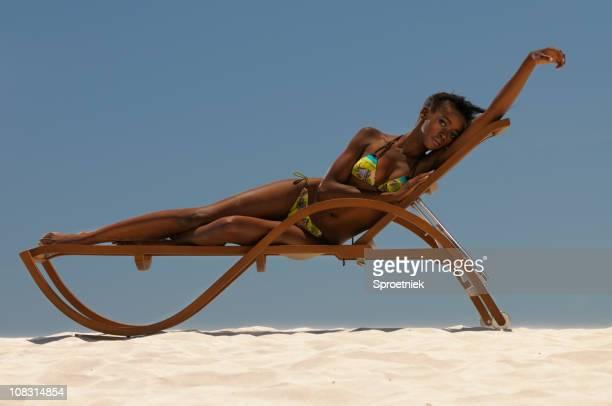 Girl on seaside lounger front