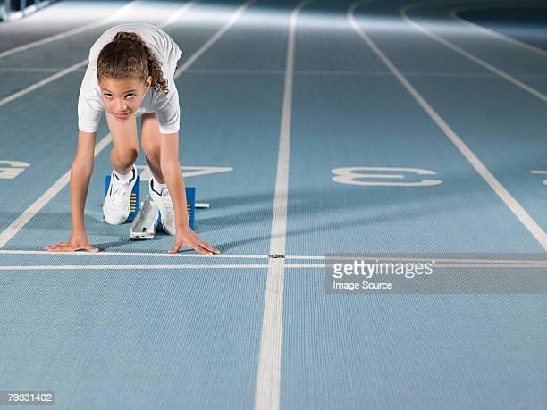 Girl on starting line
