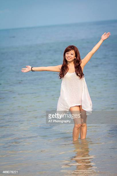 girl on the beach - malaysia beautiful girl stock photos and pictures