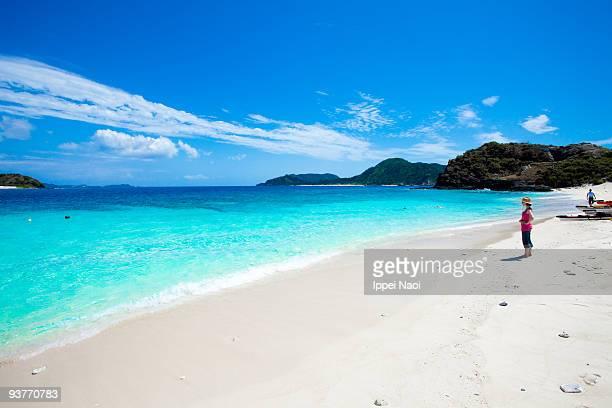 Girl on the deserted tropical island of Okinawa