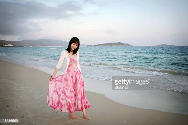 girl on the seashore - maxi dress stock pictures, royalty-free photos & images