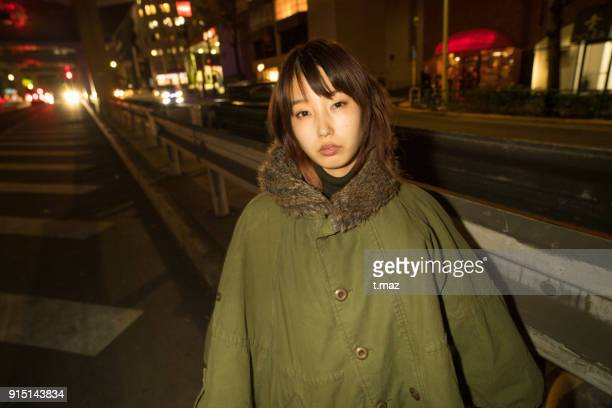 A girl on the street in Tokyo.