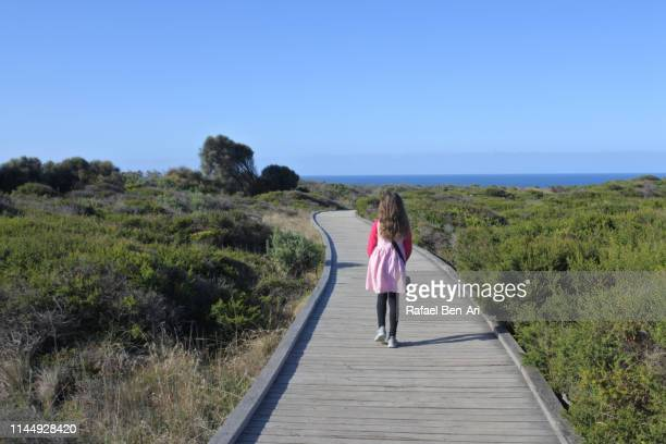 Girl on vacation visiting  Campbell National Park in Victoria Australia