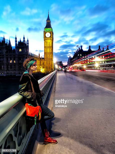 girl on westminster bridge - anatoleya stock pictures, royalty-free photos & images