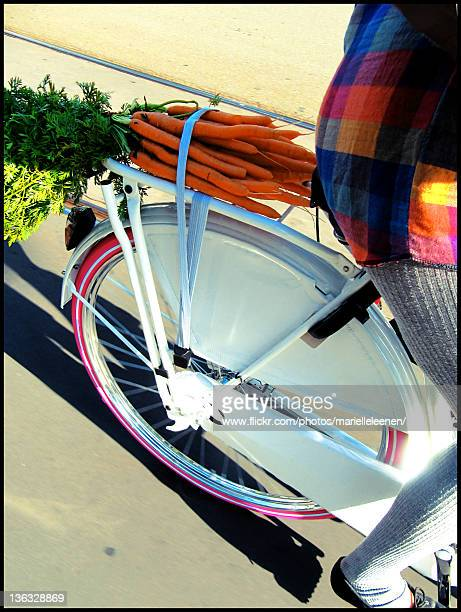 Girl on white and pink bicycle