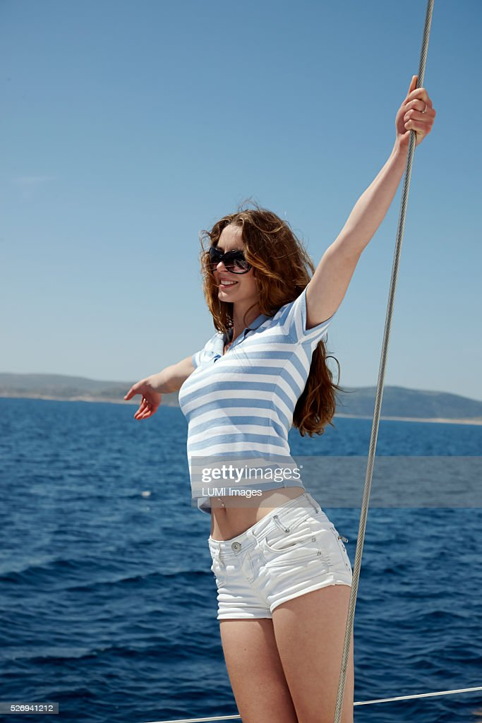 Girl on yacht, Adriatic sea, Dalmatia : Foto de stock