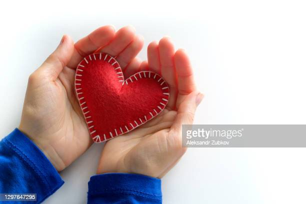 a girl or woman holds a red handmade heart on a white background. the concept of valentine's day, health and medicine. - valentine' day stock pictures, royalty-free photos & images