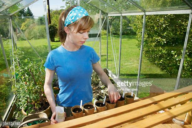 girl organic gardening and vegetable growing
