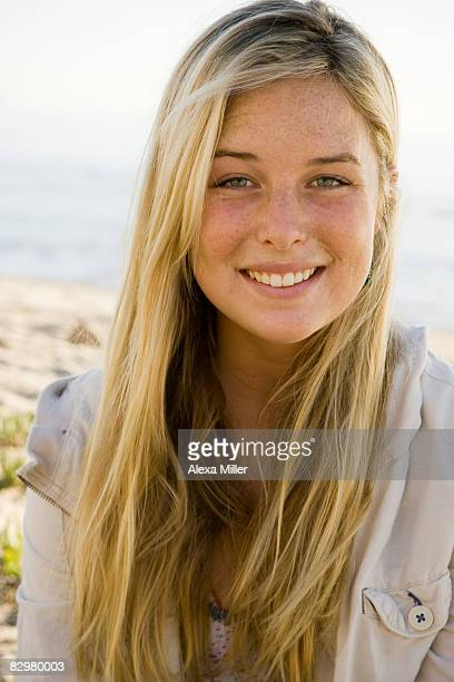Girl outside at beach.