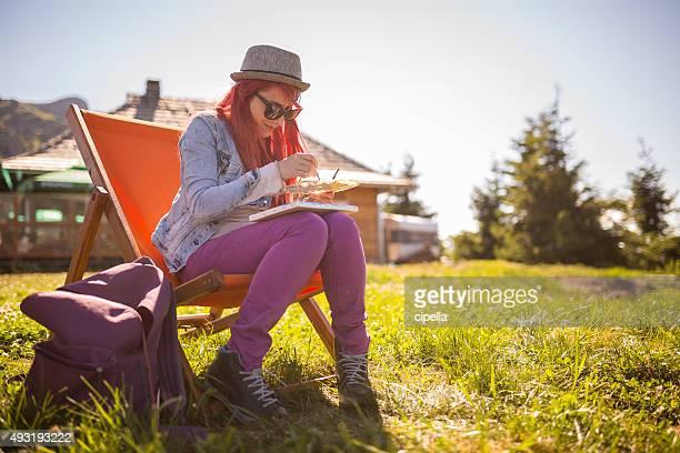 Mädchen Malen im Freien