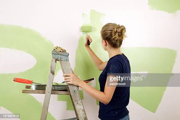 Fille peindre Chambre verte