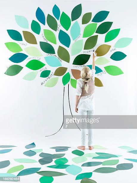 Girl painting tree on wall
