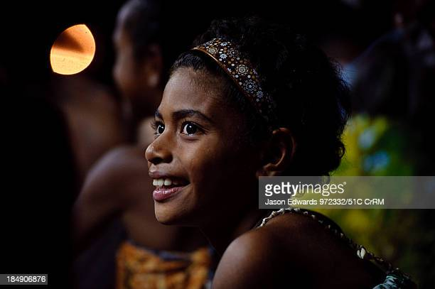 A girl performing a welcome dance at a traditional kava ceremony Wiwi Village Taveuni Island Pacific Ocean Fiji Islands