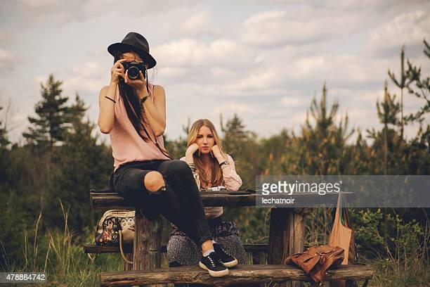 Ragazza in natura fotografi