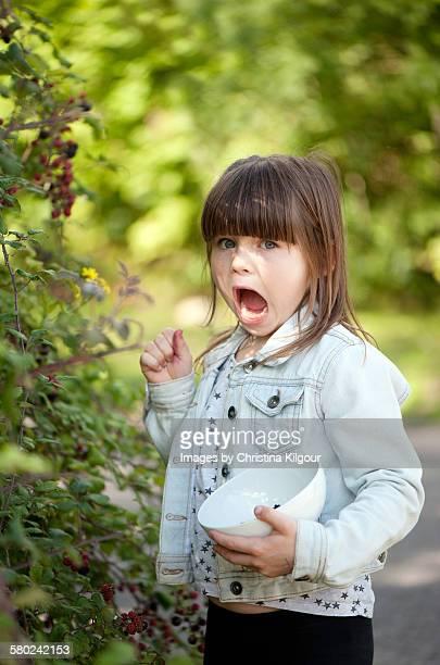 Girl picking Blackberries