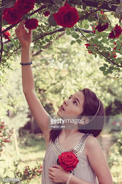 Girl picking roses at the veranda