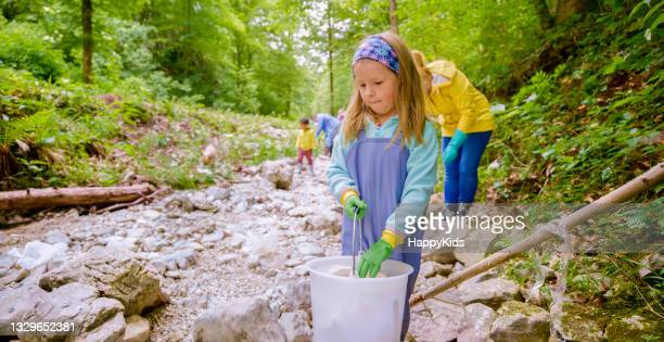 girl collecting plastic rubbish bucket forest