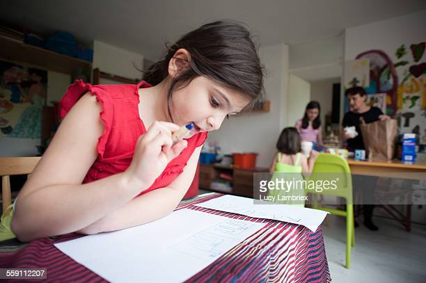 Girl planning for a horse to be crafted