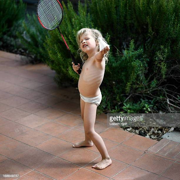 Girl playing badminton in underwear
