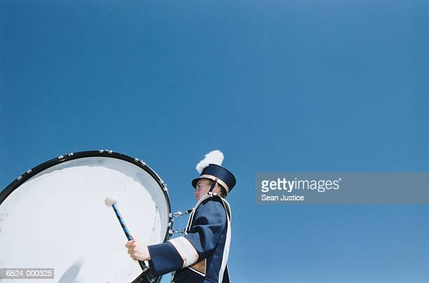 girl playing bass drum - marching band stock pictures, royalty-free photos & images
